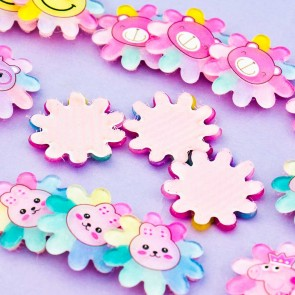 Cute Flower Hook-and-Loop Fastener Hair Deco Set - 3 pcs