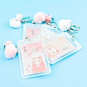 Sakura & Cat Travel Tag With Pom Pom