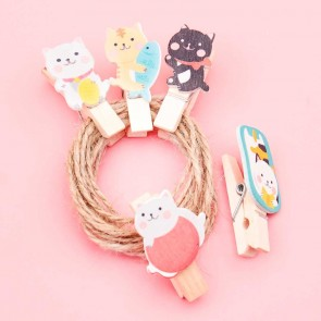 Kawaii Neko Cats Wooden Clip Set
