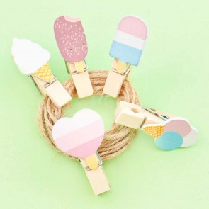 Pastel Ice Cream Treats Wooden Clip Set