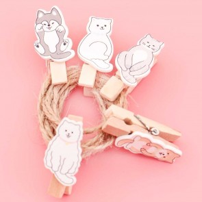 Cute Puppies & Cats Wooden Clip Set