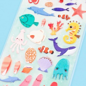 Nekoni Ocean Life Puffy Stickers