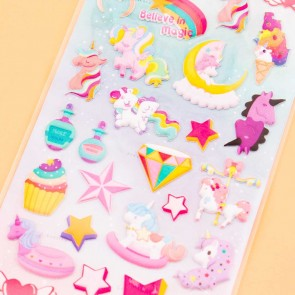 Nekoni Kawaii Unicorn Puffy Stickers