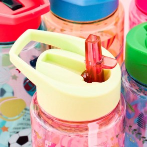 Fun Patterned Drinking Bottle With Straw