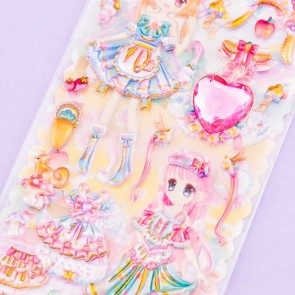Pretty Girls Dress Up Puffy Sticker Set - Forest Girls