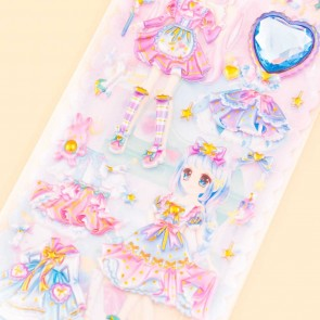 Pretty Girls Dress Up Puffy Sticker Set - Dreamy Pure