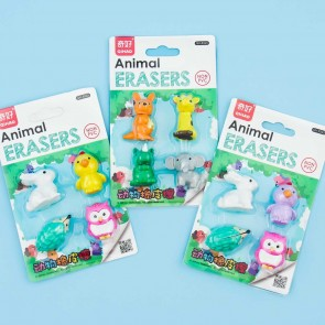 Kawaii Animal Eraser Set