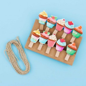 Yummy Cupcake Wooden Clip Set