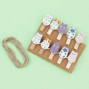 Sad Neko Wooden Clip Set
