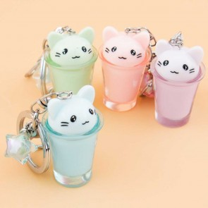 Neko In A Glass Keychain