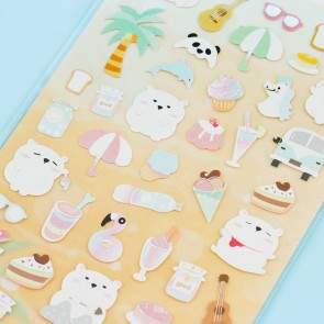 Nekoni Summer Cool Polar Bear Stickers