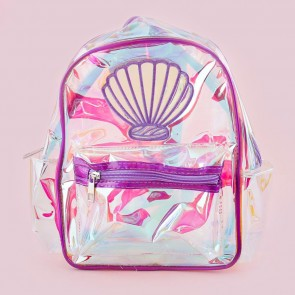 Holographic Purple Seashelll Transparent Backpack