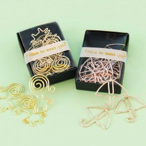 Golden Umbrella & People Paper Clip Set