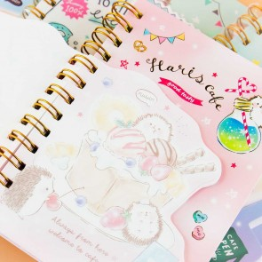 Hedgehog Sweets Cafe Spiral Notebook