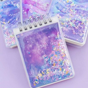 Glittery Galaxy Spiral Notebook