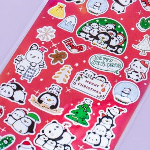 Nekoni Christmas Panda & Penguin Stickers