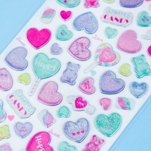 Party Candy Glittery Heart Stickers