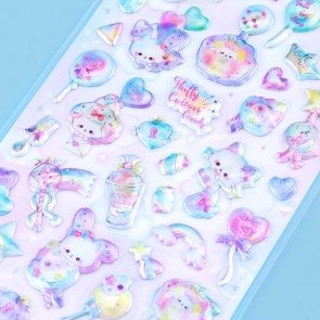 Fluffy Cotton Candy & Kitties Puffy Stickers