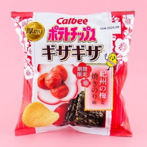 Calbee Potato Chips - Kishu Plum & Roasted Seaweed