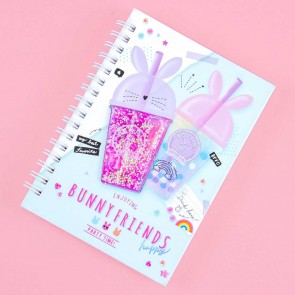 Bunny Friends 3D Glittery Drinks Spiral Notebook