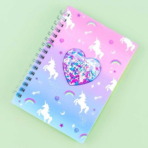 Unicorn Party 3D Heart Spiral Notebook