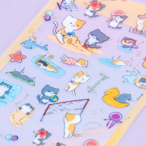 Nekoni Transparent Stickers - Neko Beach