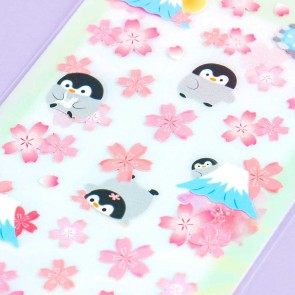 Nekoni Sakura Stickers - Penguins of Mt. Fuji