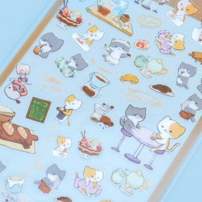 Neko Transparent Stickers - Café Cats