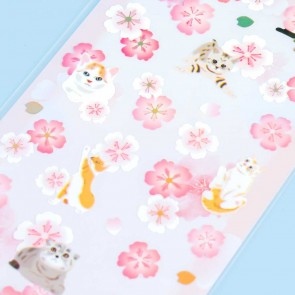 Nekoni Sakura Stickers - Fluffy Neko