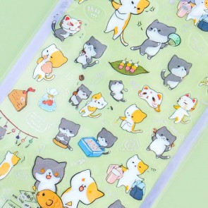 Nekoni Transparent Stickers - Cat Festival