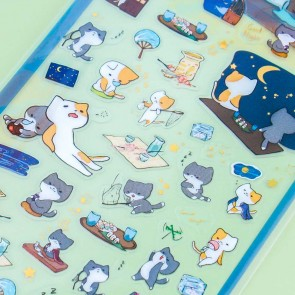 Nekoni Transparent Stickers - Nighttime Camping Cats