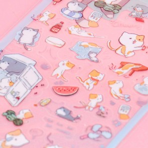 Nekoni Transparent Stickers - Watermelon Cat Summer