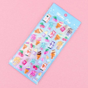 Milky Pop Puffy Stickers - Fruits & Dairy