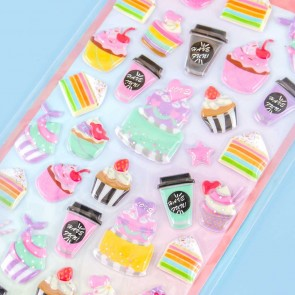 Milky Pop Puffy Stickers - Pastries & Coffee