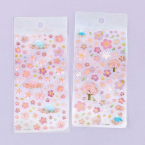 Mount Fuji's Sakura Blossoms Puffy Stickers