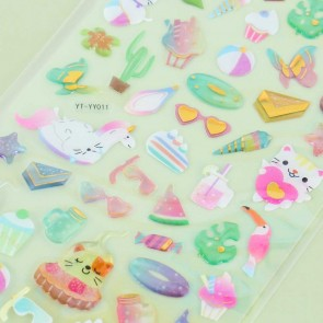 Crystal Puffy Stickers - Summer Cat