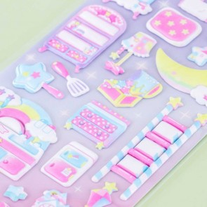Amusing Pastel Puffy Stickers - Cosmic House