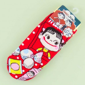 Milky Smiling Peko Polka Dot Cotton Socks