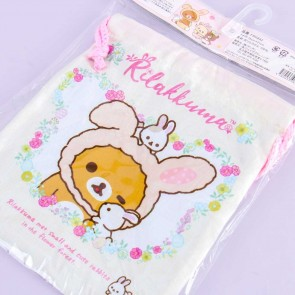 Rilakkuma With Rabbits In The Flower Forest Drawstring Bag