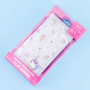 Kuromi Sweet Gingham Flip Cover Case for iPhone XR / XS