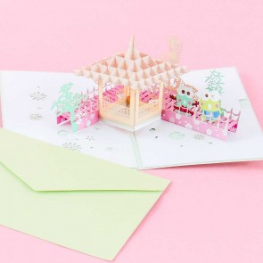 Keroppi Japanese Garden Pop-Up Greeting Card
