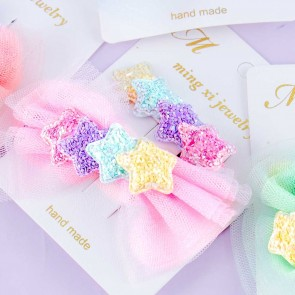 Glittery Star Bow Hair Clip Set