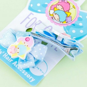 Little Twin Stars Ribbon Polka Dot Hair Clip