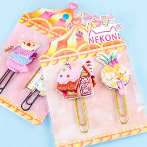 Nekoni Jumbo Cafe Bookmark Clip Set