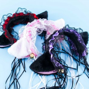 Fluffy Cat Ears Lace Headband With Bells