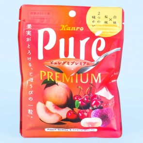 Kanro Pure Premium Gummy - White Peach & Cherry