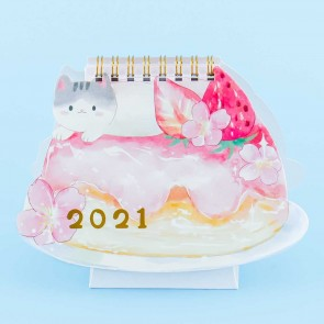 Neko Strawberry Pudding 2021 Desk Calendar