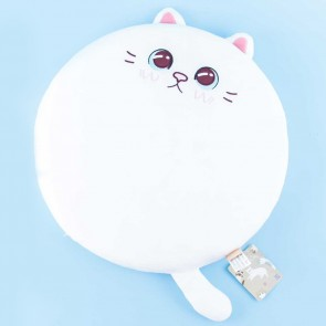 Round White Cat Cushion