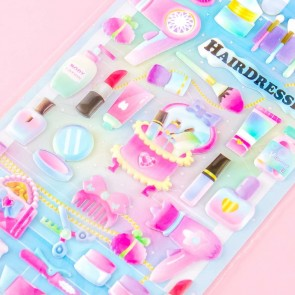 Cosmetics Pretty Hairdressing Puffy Stickers
