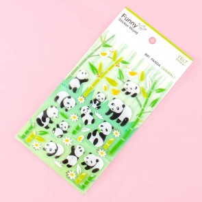 Pandas In The Bamboo Forest Felt Stickers